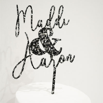 Name & Name Wedding or Engagement Cake Topper