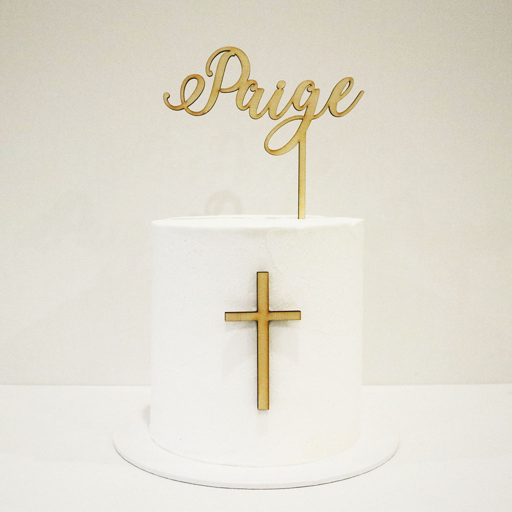 Elegant Name and Cross Cake Topper Set