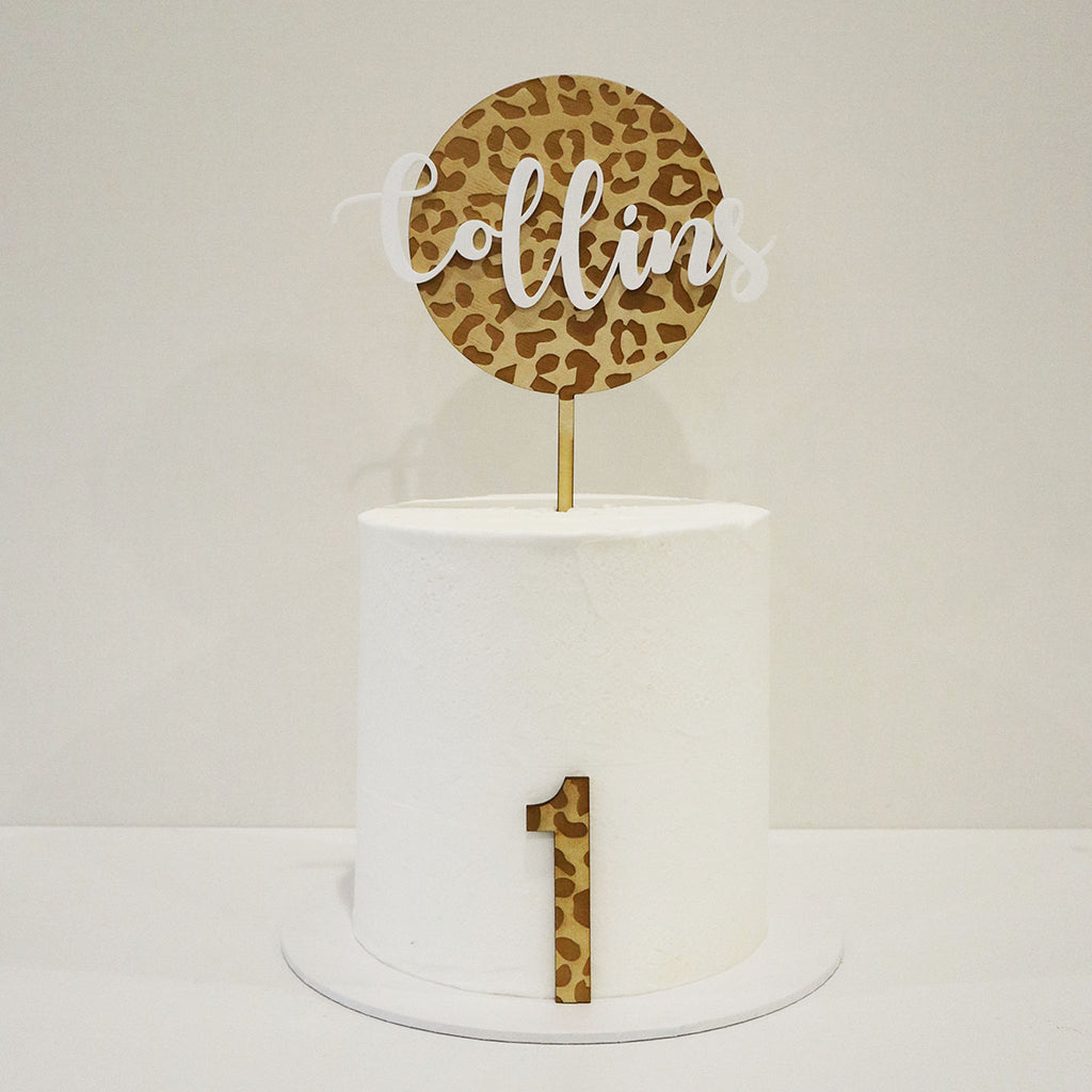 Animal Print 3D Script Name Circle & Number Set
