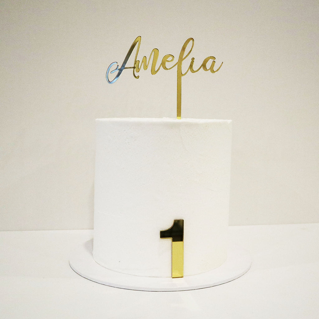 Script Name and Number Cake Topper Set