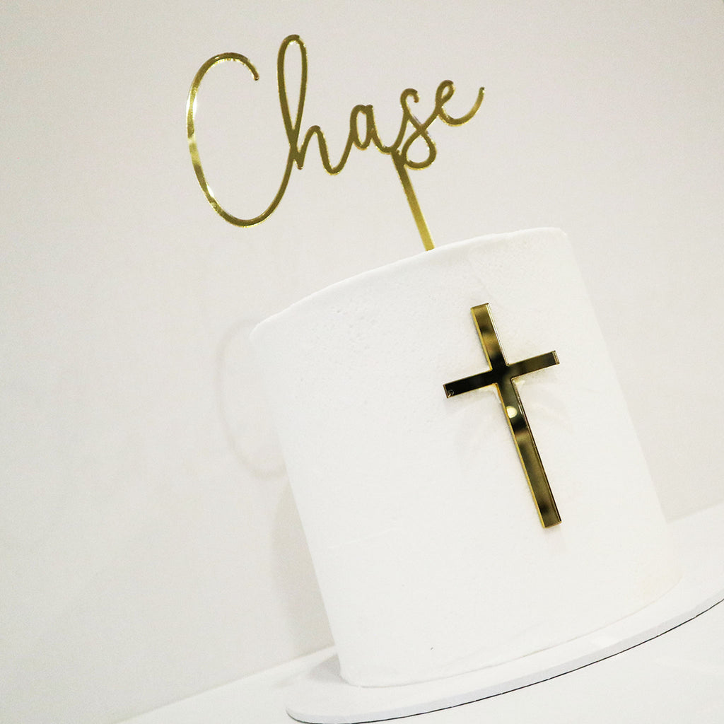 Summer Name and Cross Cake Topper Set