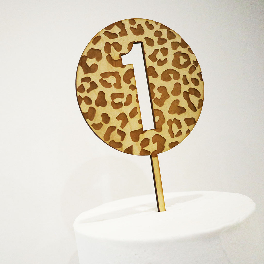 Animal Print Number Cut Out Circle