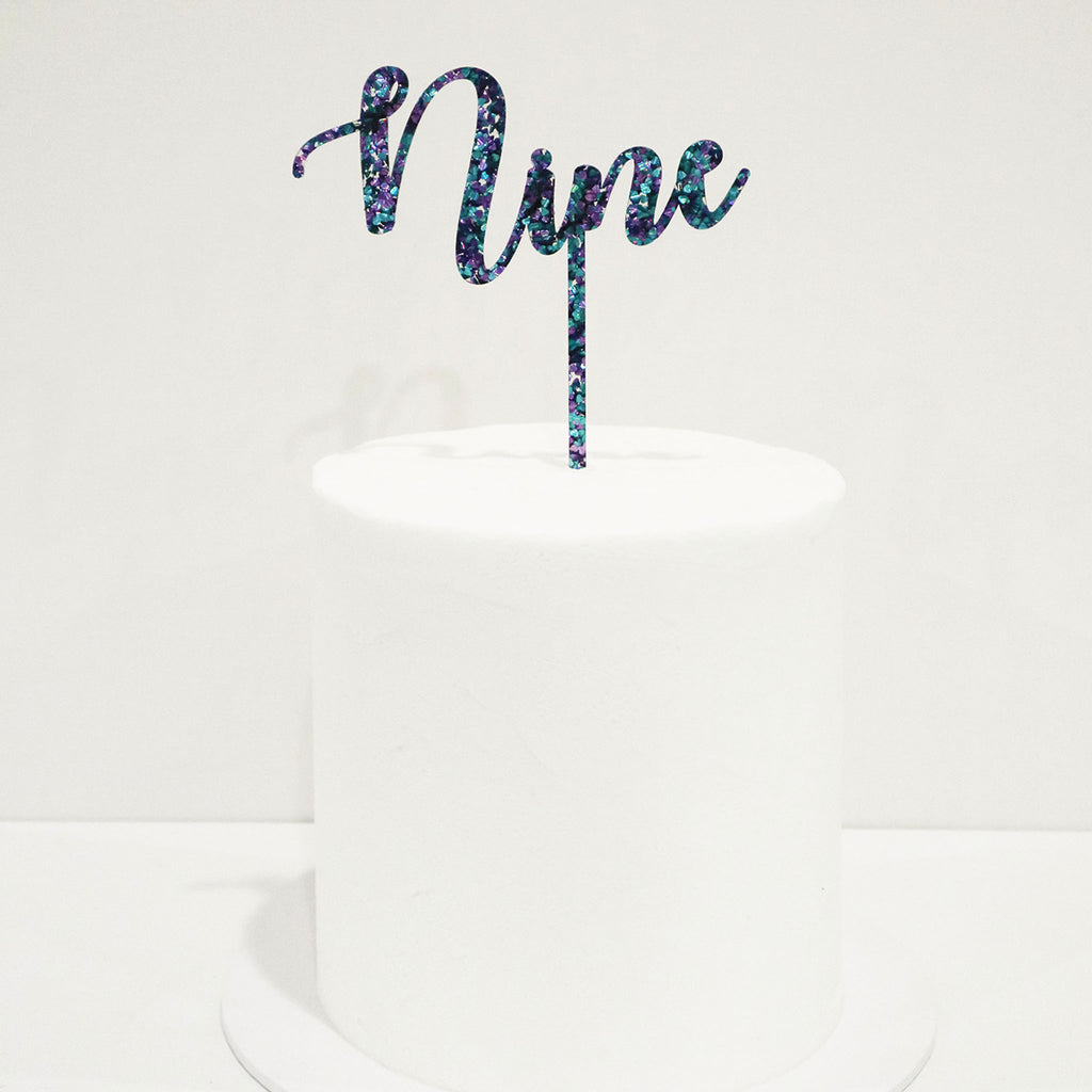 Curly Script Number Cake Topper