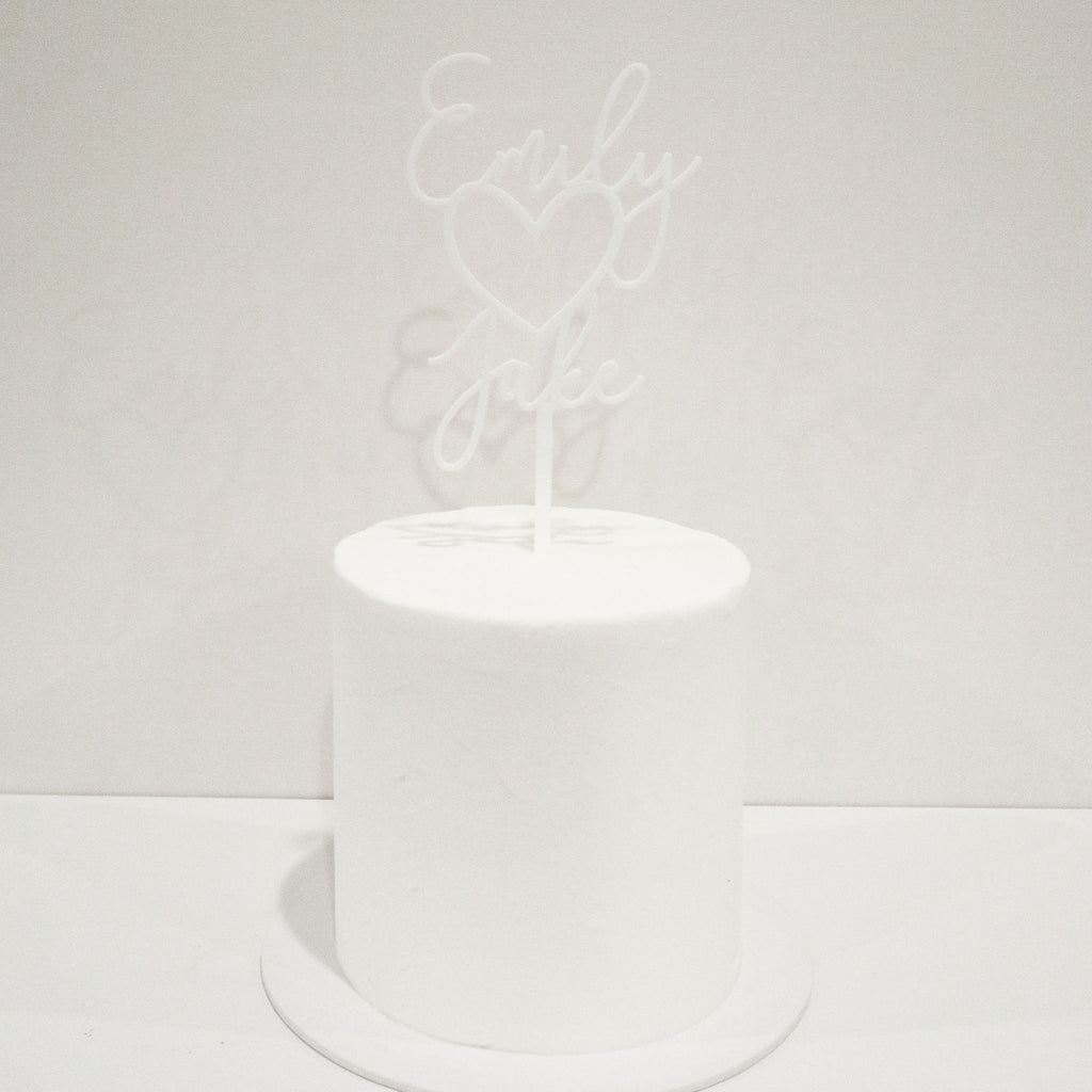 Fine Heart Wedding or Engagement Cake Topper