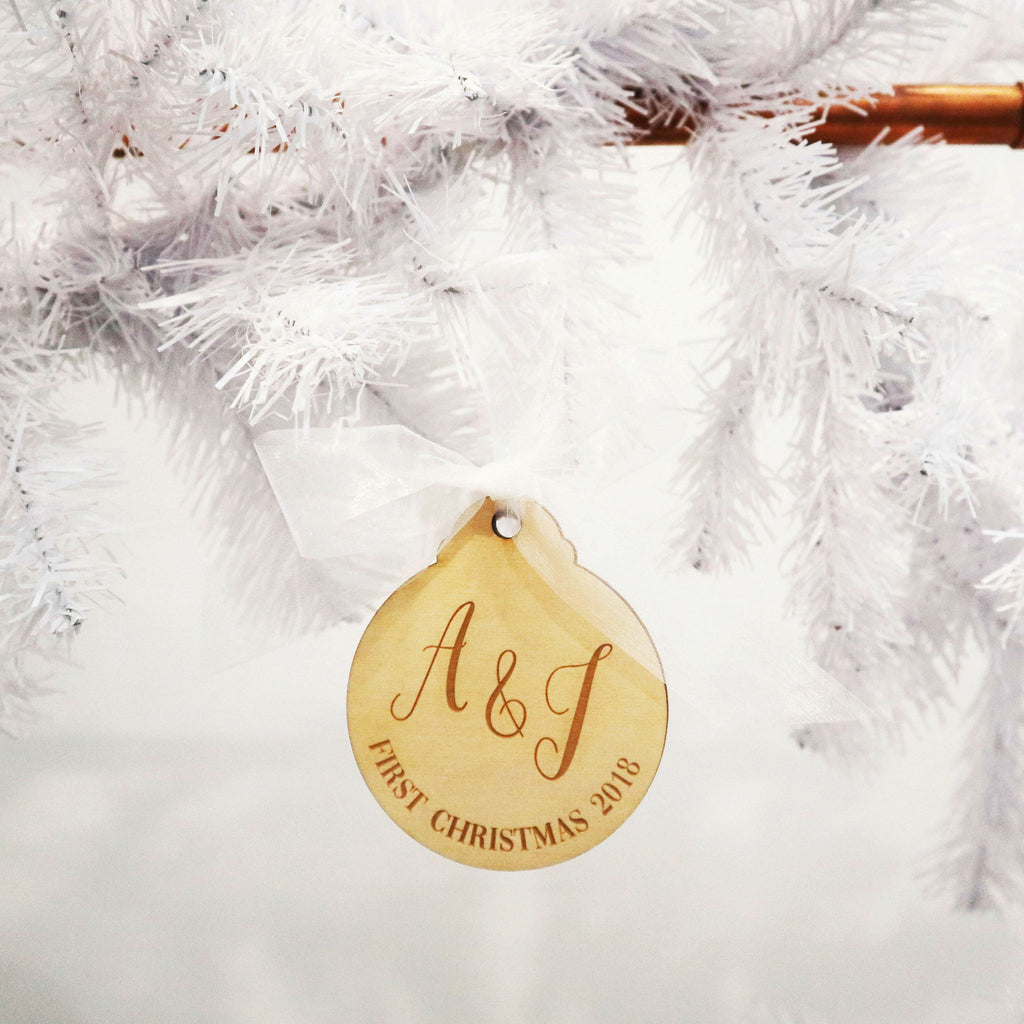 Initials Timber Christmas Bauble