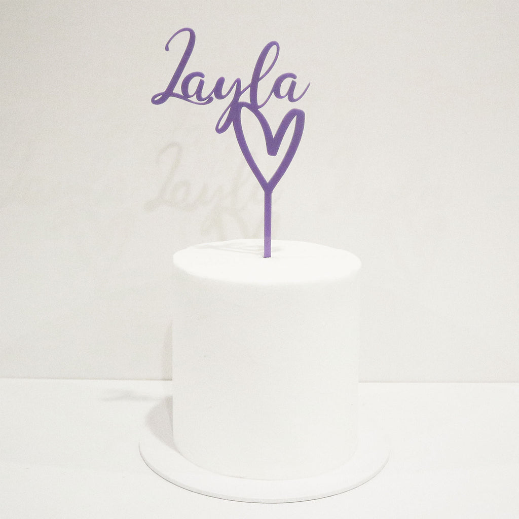 Scripted Name Heart Motif Cake Topper