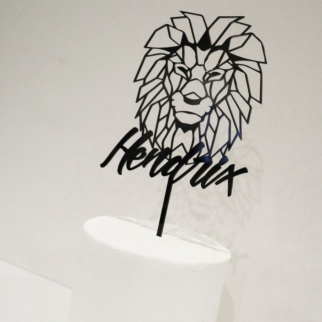 Lion Geo Name Cake Topper