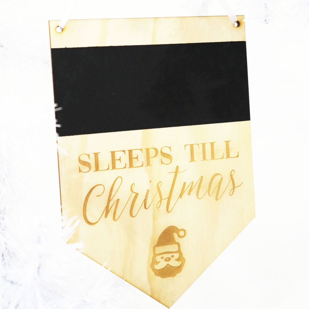 Flag Christmas Count Down Chalkboard Plaque