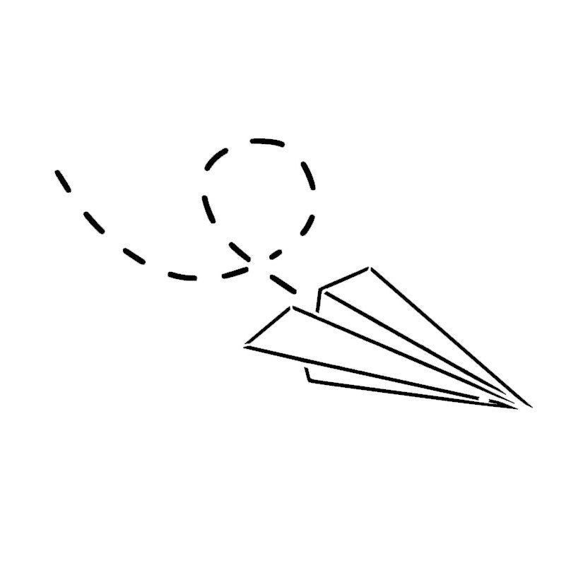 Tattoo Drawings On Paper Small: Paper Airplane (outline)
