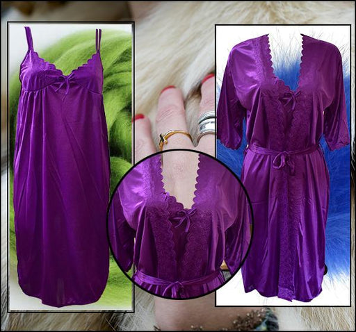 2 Piece Night Gown - Dark Purple - Hiffey
