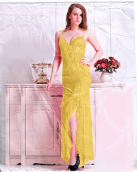Lace Foam Long Nighty for Women's - Yellow