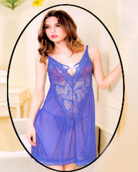 Net Short Nighty for Women's - Blue