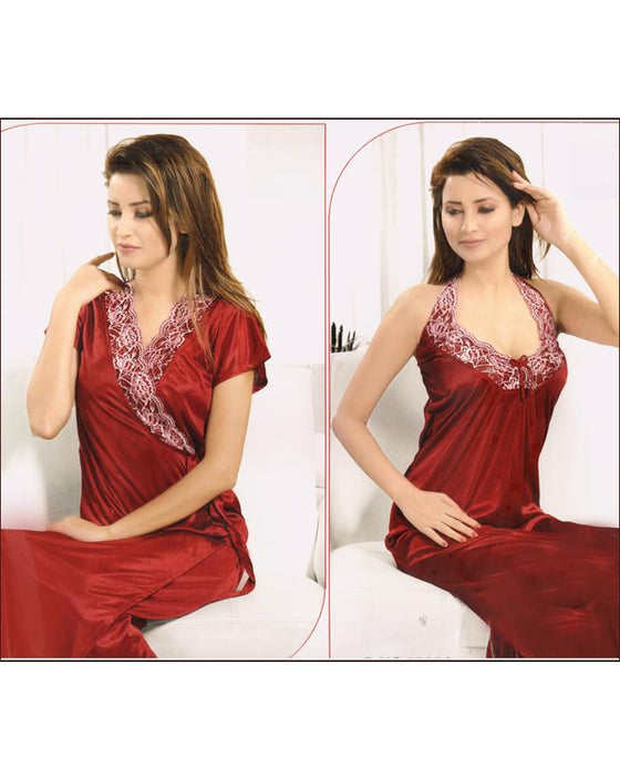 Bell 2 Piece Maroon Silk Nighty - 2223A - Hiffey