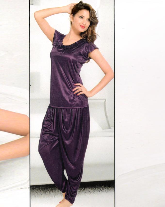 Bell 4 Piece Silk Bridal Purple Nighty - 4047B