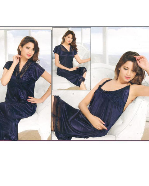 Bell 4 Piece Silk Bridal Blue Nighty - 4046B