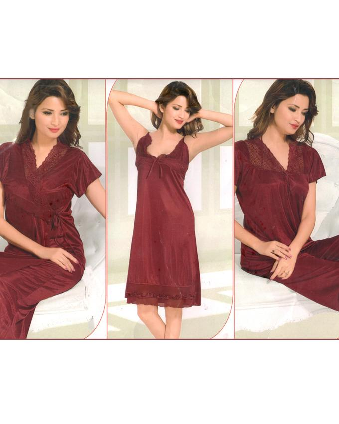 Bell Bridal Maroon Nighty 4 Piece Set - 4046A