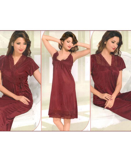 Bell Bridal Maroon Nighty 4 Piece Set - 4046A - Hiffey