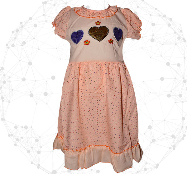 Blue With Golden Heart Printed Style Mini Dots Frock For Girls - Peach