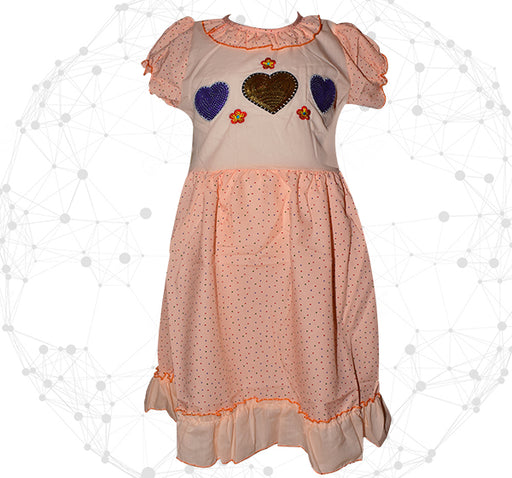 Blue With Golden Heart Printed Style Mini Dots Frock For Girls - Peach - Hiffey