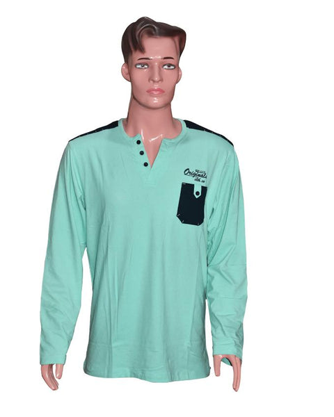 Men Long Sleeves T-Shirt with Front Pocket - Sea Green
