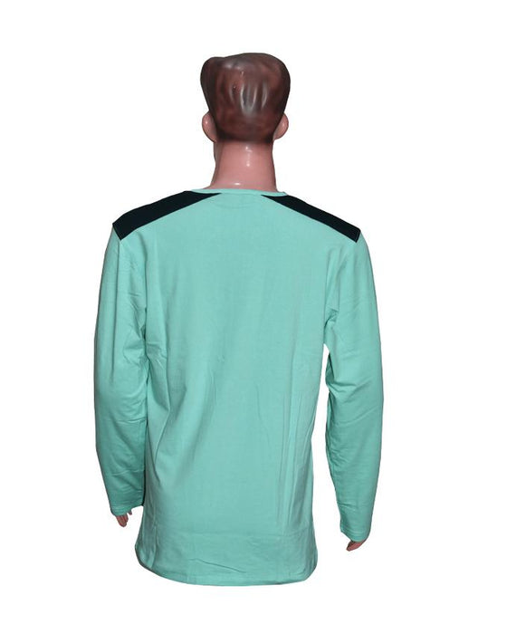 Men Long Sleeves T-Shirt with Front Pocket - Sea Green - Hiffey