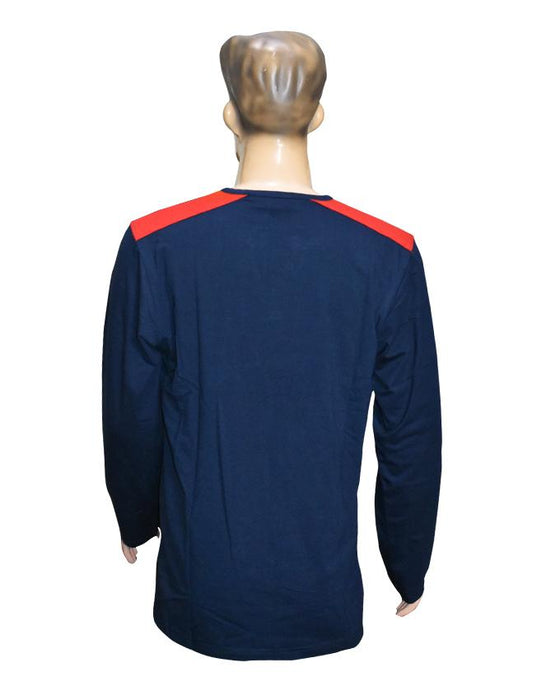 Men Long Sleeves T-Shirt with Front Pocket - Navy Blue - Hiffey