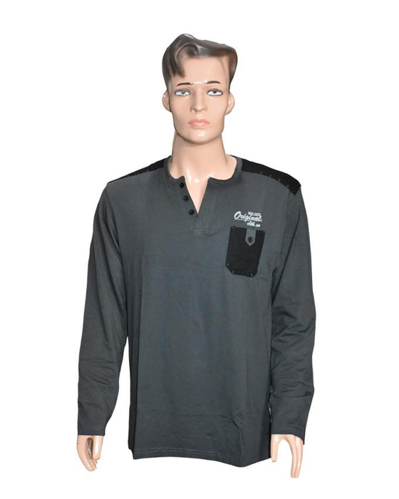 Men Long Sleeves T-Shirt with Front Pocket - Dark Grey - Hiffey