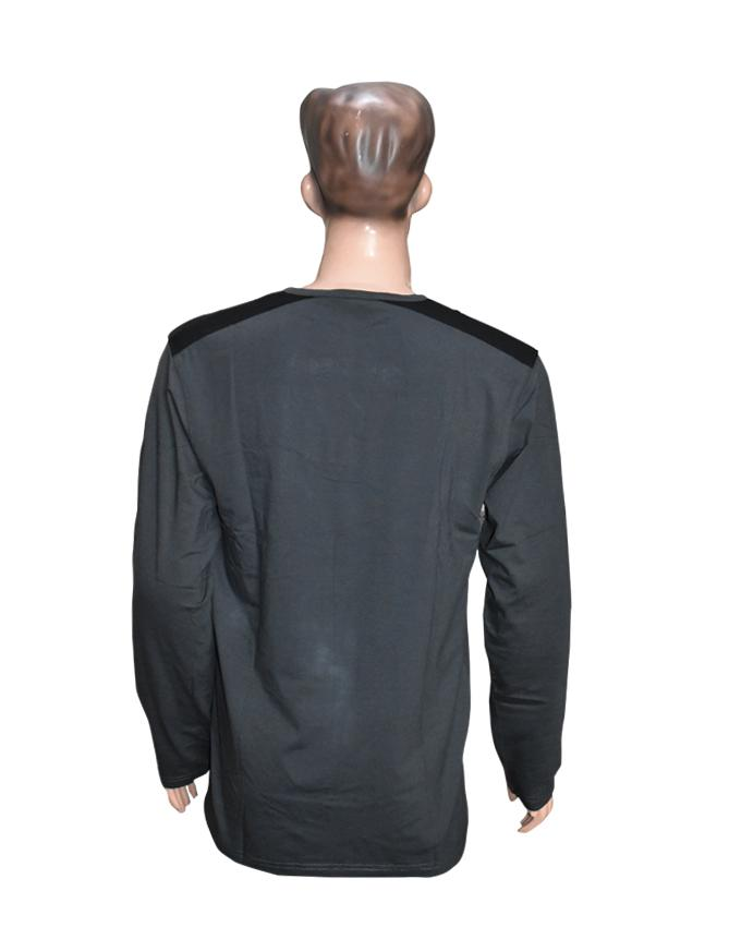 Men Long Sleeves T-Shirt with Front Pocket - Dark Grey