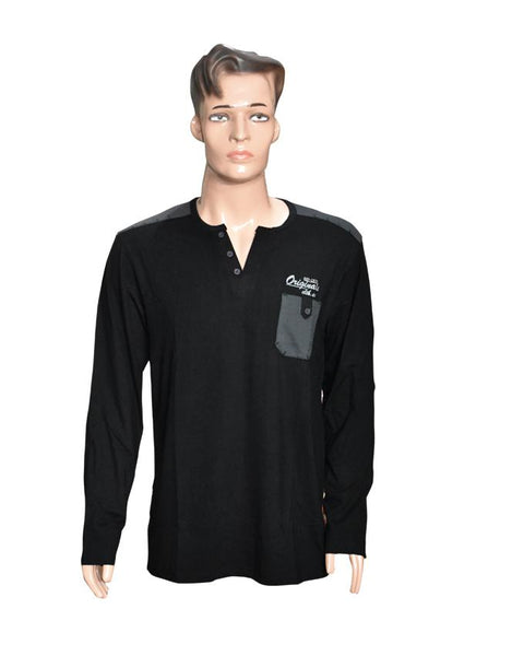 Men Long Sleeves T-Shirt with Front Pocket - Black
