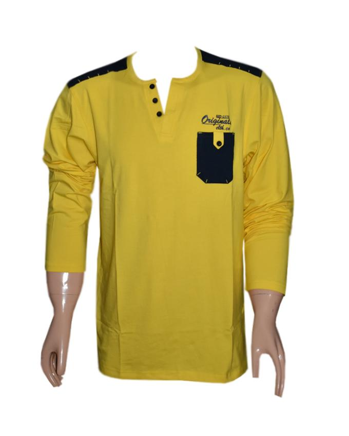 Men Long Sleeves T-Shirt with Front Pocket - Yellow