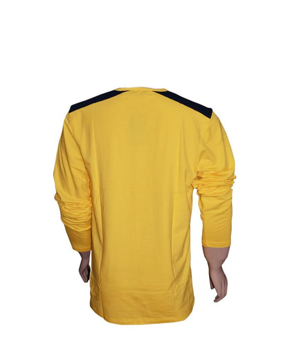 Men Long Sleeves T-Shirt with Front Pocket - Yellow - Hiffey