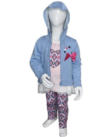 Baby Girl Hoodie Jumper Sweatshirt Top + Striped Trousers