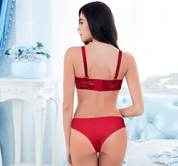 Lace Lingerie Push Up Padded Bra Panty Set for Women