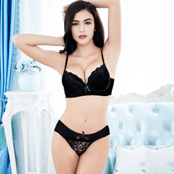 Women Embroidery Lace Floral Lingerie Push Up Bra Panty Set