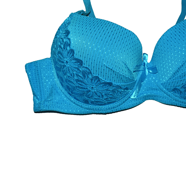 Bridal Collection Wired Push Up Padded Bra Panty Set for Women - Blue - Hiffey