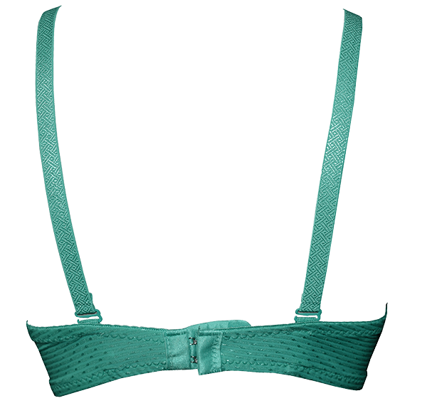 Bridal Collection Wired Push Up Padded Bra Panty Set for Women - Green - Hiffey