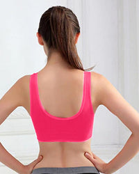 Women Seamless Wire Free Non-Padded Crop Top Fitness Sports Bra