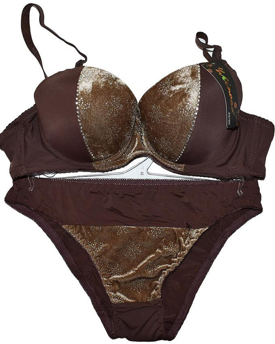 Winter Velvet Padded Push Up Bra Panty Set for Women - Hiffey