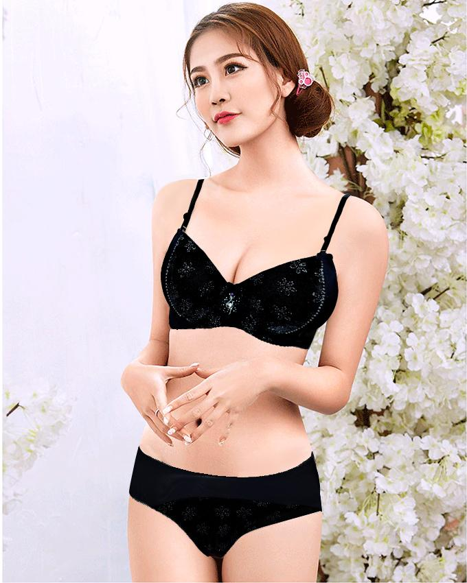 Winter Velvet Padded Push Up Bra Panty Set for Women 631d6a731
