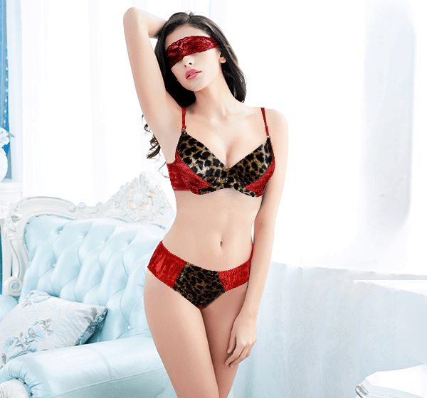 Winter Velvet Padded Rhinestones Push Up Bra Panty Set for Women 21df74a64