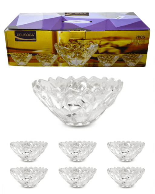 Delisoga High Quality Glassware Bowl Soup Set 7 Pieces - Hiffey