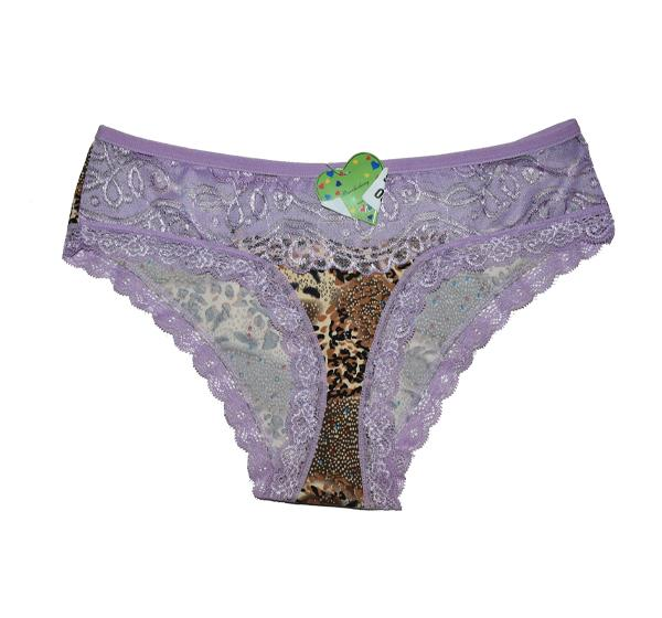 Ladies Lace Printed Fancy Panties - Purple - Hiffey