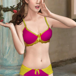 Cute Simply Padded Bra And Panty Set With For Ladies