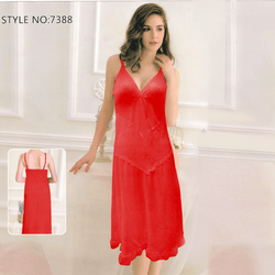 Women Sexy Below Knee Length Night Gown V-Neck Short Lingerie Nighty - 7388