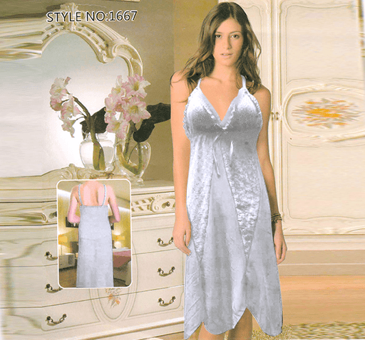 Long Dressing Night Gown Sheer Lingerie Nighty - 1667 - Hiffey
