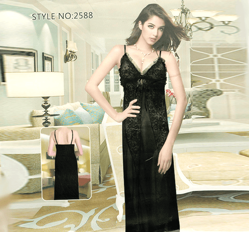 Long Dressing Night Gown Sheer Lingerie Nighty - 2588 - Hiffey