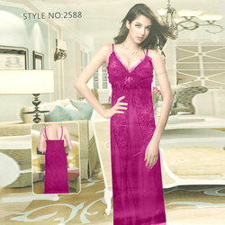 Long Dressing Night Gown Sheer Lingerie Nighty - 2588