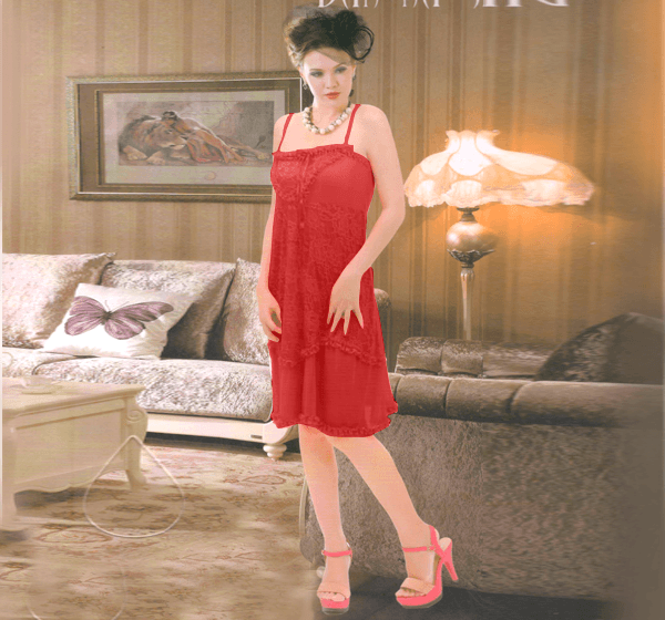 Women Sexy Nightwear Lace Sleepwear Short Nighty - 9013 - Hiffey