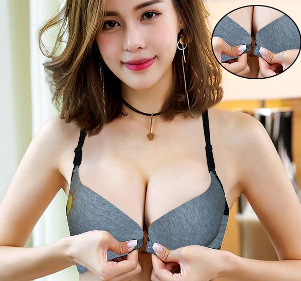 Sun Printed Front Open Wired Padded Bra - Gray - Hiffey