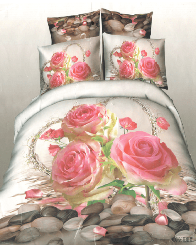 High Quality 3D White with Flowers Printed BedSheet - 3 Pieces Set